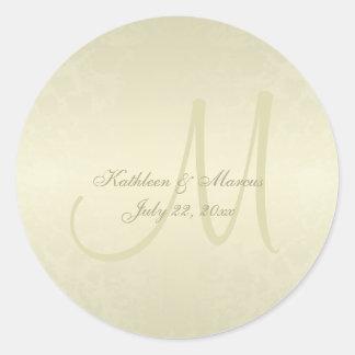 Mariage de monogramme d'or sticker rond