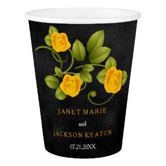 Mariage de noir et de rose jaune de souci gobelets en papier
