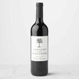 Mariage de paume de La Havane Étiquette Pour Bouteilles De Vin