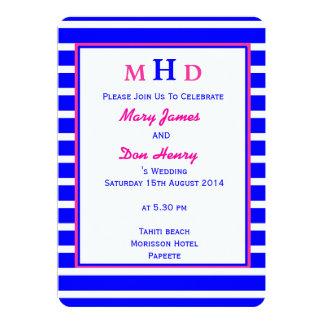 Mariage de plage bleu et rose carton d'invitation  12,7 cm x 17,78 cm