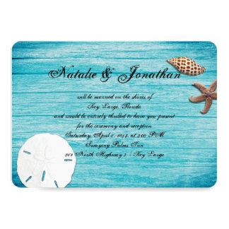 Mariage de plage bleu marin rustique de carton d'invitation  12,7 cm x 17,78 cm