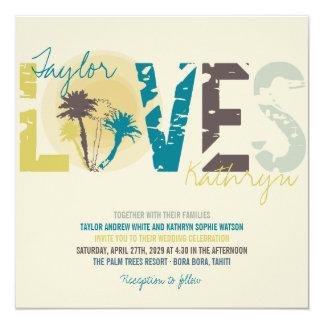 Mariage de plage bleu tropical de palmiers de carton d'invitation  13,33 cm