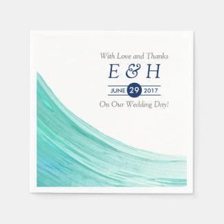 Mariage de plage élégant de marées de turquoise serviette en papier