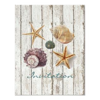 mariage de plage en bois de coquillages de dock carton d'invitation 10,79 cm x 13,97 cm