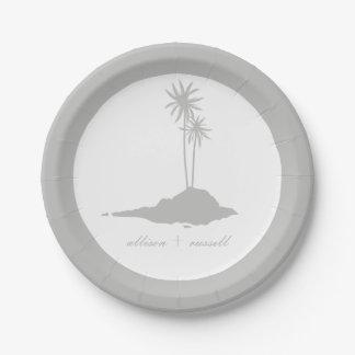 Mariage de plage moderne d'île - gris assiettes en papier
