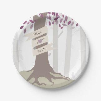 Mariage de région boisée de lavande assiettes en papier