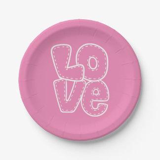 Mariage de rétro amour/partie roses et blancs assiettes en papier
