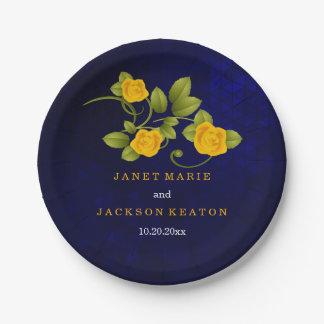 Mariage de rose bleu-foncé et jaune assiettes en papier