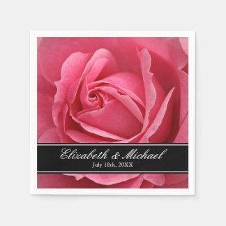 Mariage de rose de rose personnalisé serviette en papier