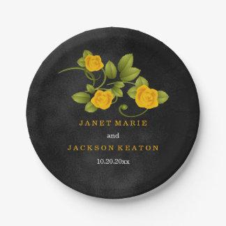 Mariage de tache noire et de rose jaune assiettes en papier