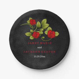 Mariage de tache noire et de rose rouge assiettes en papier
