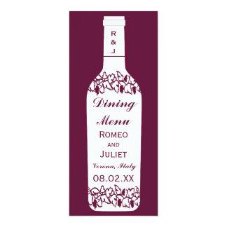 Mariage de vignoble dinant le menu carton d'invitation  10,16 cm x 23,49 cm