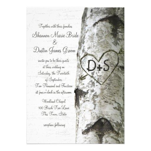 Mariage découpé d'arbre de bouleau de coeur faire-parts