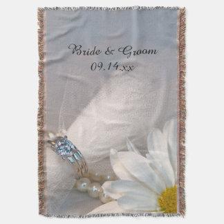 Mariage d'élégance de marguerite blanche couvre pied de lit