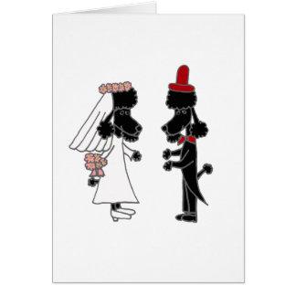 Mariage drôle de jeunes mariés de caniche carte