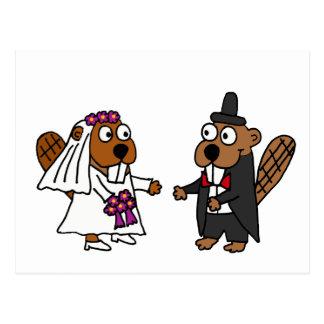 Mariage drôle de jeunes mariés de castor carte postale