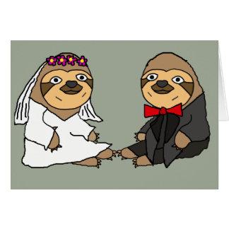 Mariage drôle de jeunes mariés de paresse carte