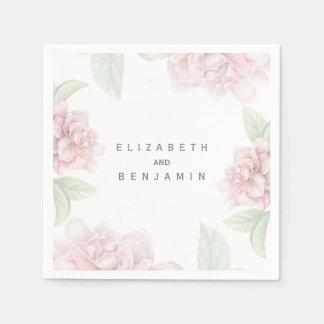 Mariage élégant blanc floral rose doux serviette jetable