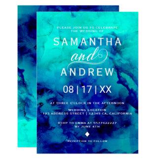 Mariage élégant d'aquarelle bleue moderne de carton d'invitation  12,7 cm x 17,78 cm