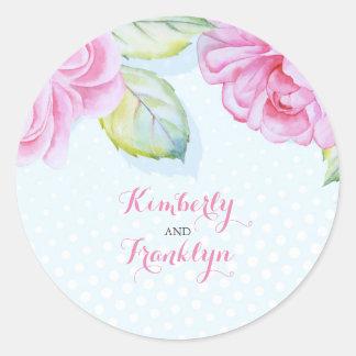 mariage élégant d'aquarelle rose florale sticker rond