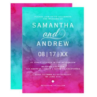 Mariage élégant d'aquarelle rose moderne de carton d'invitation  12,7 cm x 17,78 cm
