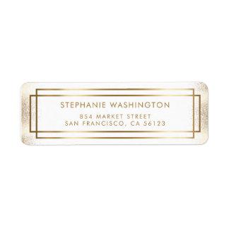 Mariage élégant de frontière de blanc et d'or étiquette d'adresse retour