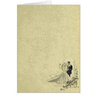 Mariage élégant de jeune mariée et de marié carte de vœux