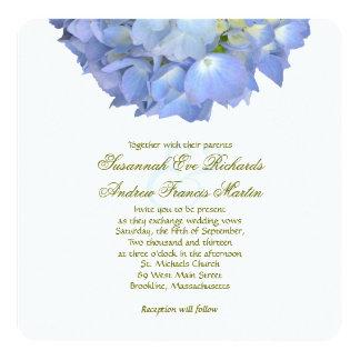 Mariage élégant floral bleu d'hortensia carton d'invitation  13,33 cm