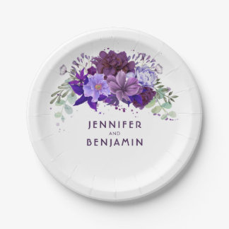 Mariage élégant floral pourpre violet de prune assiettes en papier