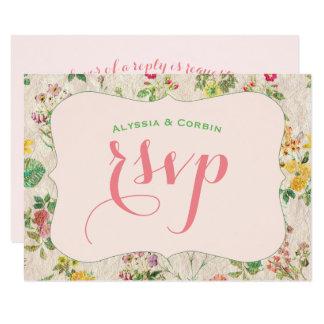 Mariage élégant jaune et vert rose floral vintage carton d'invitation 8,89 cm x 12,70 cm