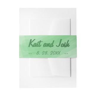 Mariage élégant minimaliste à la mode de vert de bandeaux de faire-part