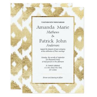 Mariage élégant moderne d'Ikat d'or blanc de faux Carton D'invitation 12,7 Cm X 17,78 Cm