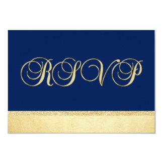 Mariage élégant personnalisé de l'or RSVP de bleu Carton D'invitation 8,89 Cm X 12,70 Cm