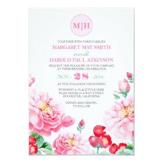 Mariage élégant vintage floral rose de jardin carton d'invitation  12,7 cm x 17,78 cm