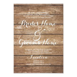 Mariage en bois vintage brun rustique de pays carton d'invitation  12,7 cm x 17,78 cm