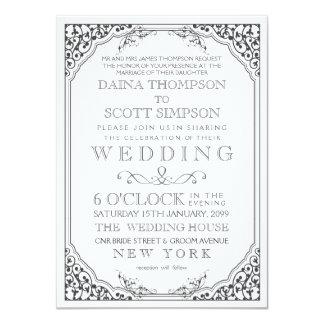Mariage en filigrane élégant vintage de frontière invitations personnalisables