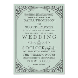 Mariage en filigrane élégant vintage de frontière cartons d'invitation