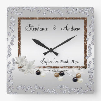 Mariage encadré d'élégance horloge carrée
