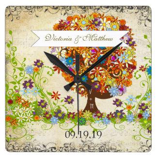 Mariage enchanté de branche latérale de forêt horloge carrée