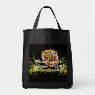 Mariage enchanté de branche latérale de forêt sac en toile épicerie