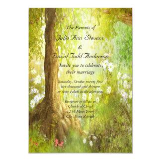 Mariage enchanté de scène de forêt carton d'invitation  12,7 cm x 17,78 cm