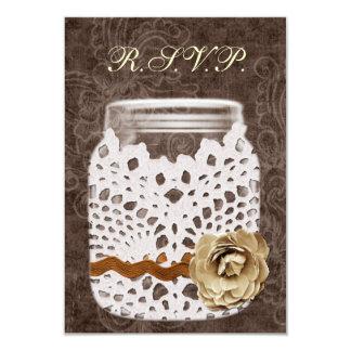 Mariage enveloppé par dentelle rustique de pot de carton d'invitation 8,89 cm x 12,70 cm