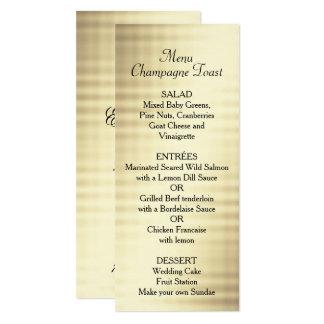 Mariage, feuille d'or, menu fait sur commande carton d'invitation  10,16 cm x 23,49 cm
