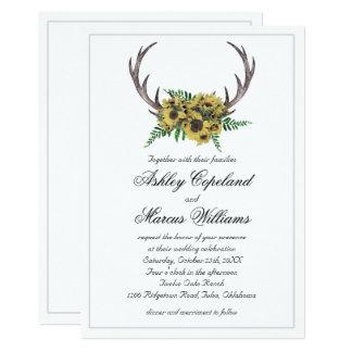 Mariage floral d'andouillers de tournesols carton d'invitation  12,7 cm x 17,78 cm