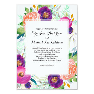 Mariage floral d'aquarelle colorée de jardin carton d'invitation  12,7 cm x 17,78 cm