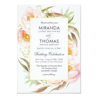 Mariage floral d'aquarelle rose romantique de carton d'invitation  12,7 cm x 17,78 cm