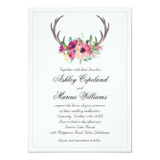 Mariage floral d'attrait de Boho d'andouillers Carton D'invitation 12,7 Cm X 17,78 Cm