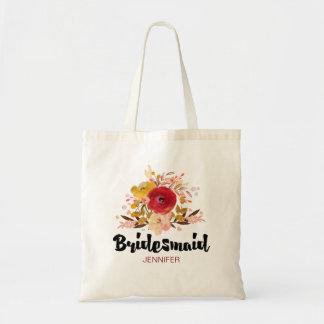 Mariage floral de bouquet d'aquarelle de sac en toile budget