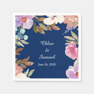 Mariage floral de jardin de bleu marine serviette jetable