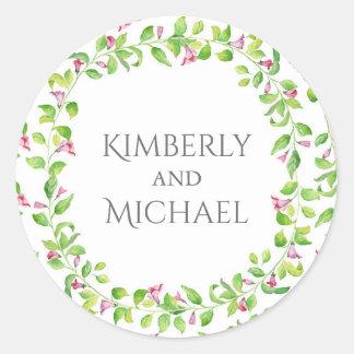 Mariage floral de jardin de vignes d'aquarelle sticker rond